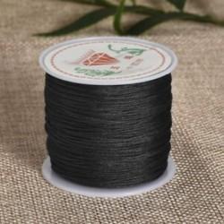 Fekete Nylon Cord Thread 0.8mm kínai csomó Macrame Rattail karkötő fonott string 45M