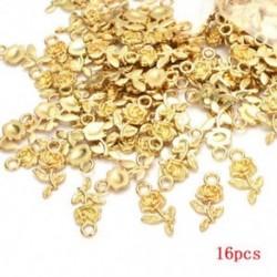 Arany Nagykereskedelem 16db Rose Flower Charm medál tibeti ezüst gyöngy ékszer készítés