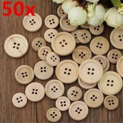 50 db 4 lyukú vegyes fa gombok Természetes színes kerek varrás Scrapbooking DIY