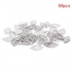 Ezüst Nagykereskedelmi 50Pcs levelek Filigrán fém medál Crafts Ékszer DIY kiegészítők