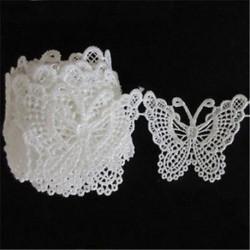 Vintage fehér pillangó csipke szegély vágószalag varrógép esküvői kézműves 1M