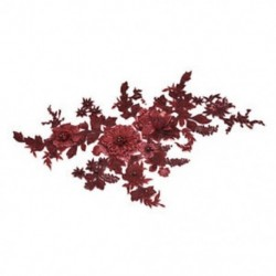 * 1 bor piros (350 * 290 mm) DIY 3D-s virág csipke hímzés menyasszonyi esküvői csatolt öntvény gyöngyös gyöngy tüll