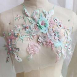 * 2 zöld   rózsaszín (33x28cm) DIY 3D-s virág csipke hímzés menyasszonyi esküvői csatolt öntvény gyöngyös gyöngy