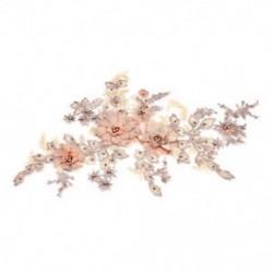 * 1 narancs (350 * 290 mm) 3D-s virághímzés esküvői ruha csipke menyasszonyi csokor Pearl tüll DIY JP