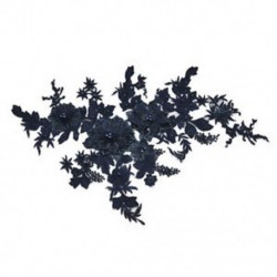 * 1 Navy Blue (350 * 290 mm) Elegáns 3D-s virág menyasszonyi csipke gyöngy gyöngyözött DIY esküvői ruha élénk