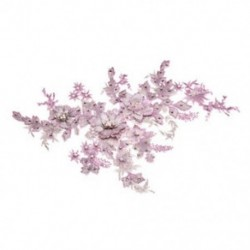 * 1 rózsaszín   ezüst (350 * 290 mm) Elegáns 3D-s virág menyasszonyi csipke gyöngy gyöngyözött DIY esküvői ruha