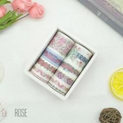* 5 Rose 10 Rolls papír Washi szalag dekoratív Scrapbooking ragasztó matrica kézműves ajándék