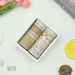 * 4 MUYA 10 tekercs / készlet papír Washi szalag dekoratív Scrapbooking ragasztó matrica kézműves