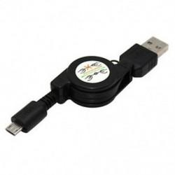 Fekete Visszahúzható Micro USB 2.0 adatszinkron töltő kábel kábel a Samsung HTC Android számára