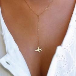 1x Női divatos repülő repülőgép medál nyaklánc arany ezüst színű lánc nyaklánc ékszer ajándék