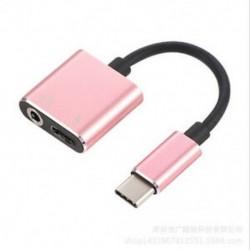 Rózsa arany C típus 3,5 mm és 2 in1 töltő fejhallgató audio jack USB C kábel adapter 1Pc
