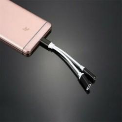 * 2 Fekete C típus 3,5 mm és 2 in1 töltő fejhallgató audio jack USB C kábel adapter 1Pc