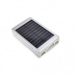 Ezüst Hordozható napelemes LED Dual USB Power Bank 5x 18650 külső akkumulátor töltő DIY doboz