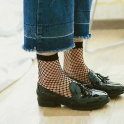 Fekete Szexi nők lányok fodros halászháló boka magas zokni háló csipke hal nettó rövid zokni