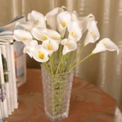 fehér Mesterséges calla liliom csokor fej hamis selyem virág esküvői party lakberendezés Új