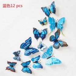 Kék 12db 3D pillangó design fal matricák Art matricák otthoni szoba dekoráció dekor