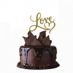 Love - Arany színű akril tortadísz szülinapra - évfordulóra - különleges alkalmakra