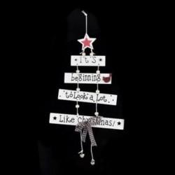 1db fehér függő (17x27cm) DIY 3D Xmas fa fa medálok függő karácsonyi dekoráció Home Party Decor