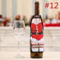 * 12 Santa nadrág karácsonyi Candy táskák Bor harisnya üveg ajándék táska Xmas dekoráció