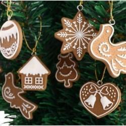 7db Mézeskalácsos sütemény mintás dísz - Karácsonyi dekoráció