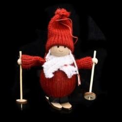 1db 11x7cm-es Piros ruhás baba - Karácsonyi dekoráció - 3