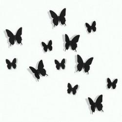 Fekete 12 db 3D DIY fali matrica matrica pillangó lakberendezés szoba dekoráció új