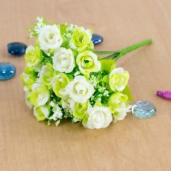 * 7 fehér Mesterséges virág csokor selyem rózsa virág otthon menyasszonyi esküvői party dekoráció