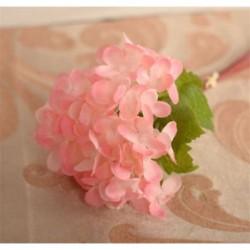 Rózsaszín Mesterséges hortenzia csokor selyem virágok levél esküvői menyasszonyi party lakberendezés