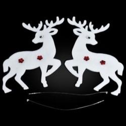 Jávorszarvas 2PCS Christmas White Elk Bell szarvas díszek Xmas fa díszek Party Decor