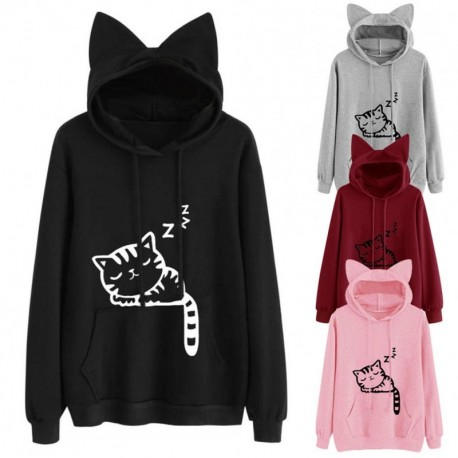 1a4e41f303 1 db női macska cica állatmintás füles kapucnis pulóver fekete rózsaszín  szürke piros