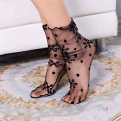 8 Vintage női necc hálós fodros rövid boka magas zokni csipke rövid harisnya