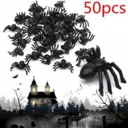 50db / tétel kis fekete műanyag hamis pók játékok Halloween vicces joke prémes props
