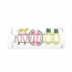 * 5 6Pcs (ananász   görögdinnye   ... 6Pcs lányok gyümölcs haj klipek Snaps hajcsavar Baby Mini Barrettes haj