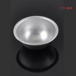 5.5cm 2PCS 3D alumínium gömb fürdő bomba torta pan sütés zselés tészta labda penész eszköz