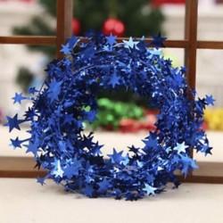Kék 7.5M karácsonyfa lógó csillag fenyő Garland karácsonyi díszítés dísz JP