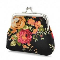 Fekete Vintage női pénztárca virág kis érme erszényes hasp vászon kuplung kis pénztárca táska