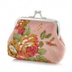Rózsaszín Vintage női pénztárca virág kis érme erszényes hasp vászon kuplung kis pénztárca táska