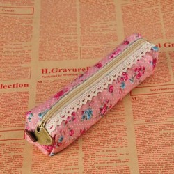 Piros Retro virág virág csipke vászon ceruza toll esetben tartó kozmetikai smink táska tasak