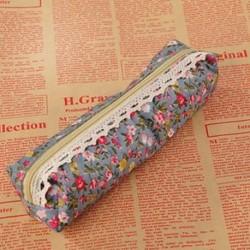 Égszínkék Retro virág virág csipke vászon ceruza toll esetben tartó kozmetikai smink táska tasak