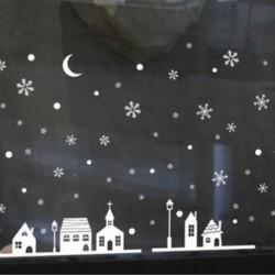 1PC Snow House (25 * 35CM) Kivehető hópehely harangok fal matrica vinil matrica vidám karácsonyi ablak dekoráció