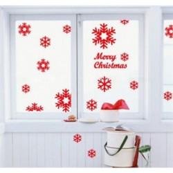 13Pcs vörös hópehely (5-8 cm) DIY Kivehető boldog karácsonyt hópehely fal matrica Vinyl Decal Home / Room Decor