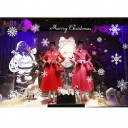 1db 50x70cm-es Fehér hópehely - Télapó mintás ablakmatrica - Karácsonyi dekoráció - A01