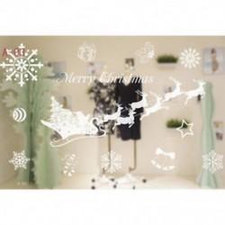 1db 50x70cm-es Télapó - Rénszarvas szán - Hópehely mintás ablakmatrica - Karácsonyi dekoráció - A03