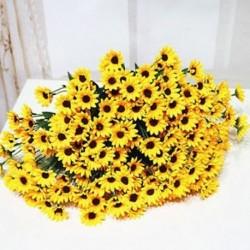Mesterséges 14 fej hamis napraforgó selyem virág csokor otthoni virág esküvői dekoráció