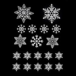 *A 19 Újrahasznosítható fehér karácsonyi hópehely ablak matrica önzárások XMAS dekorációval