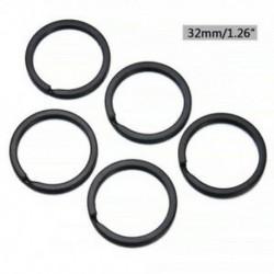 2,0 * 32mm 5db fém tömör osztott kulcstartó fekete ötvözet hurok lapos kulcstartó 25-32mm