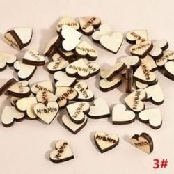 100db 19x17x4mm-es Szív alakú fa dísz - Mr&Mrs gravítozással - Ünnepi dísz - Karácsonyi dekoráció - 3