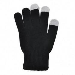 Fekete Férfi női téli kötött érintőképernyős kesztyű okostelefon tabletta teljes ujj ujjatlan