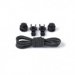 Fekete-fehér 1Pair elasztikus nyakkendő záró cipőfűző cipőfűző cipő, sportcipő csattal