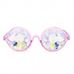 Rózsaszín Fesztivál Rave Kaleidoszkóp kerek szivárvány szemüveg diffrakciós kristály lencséje